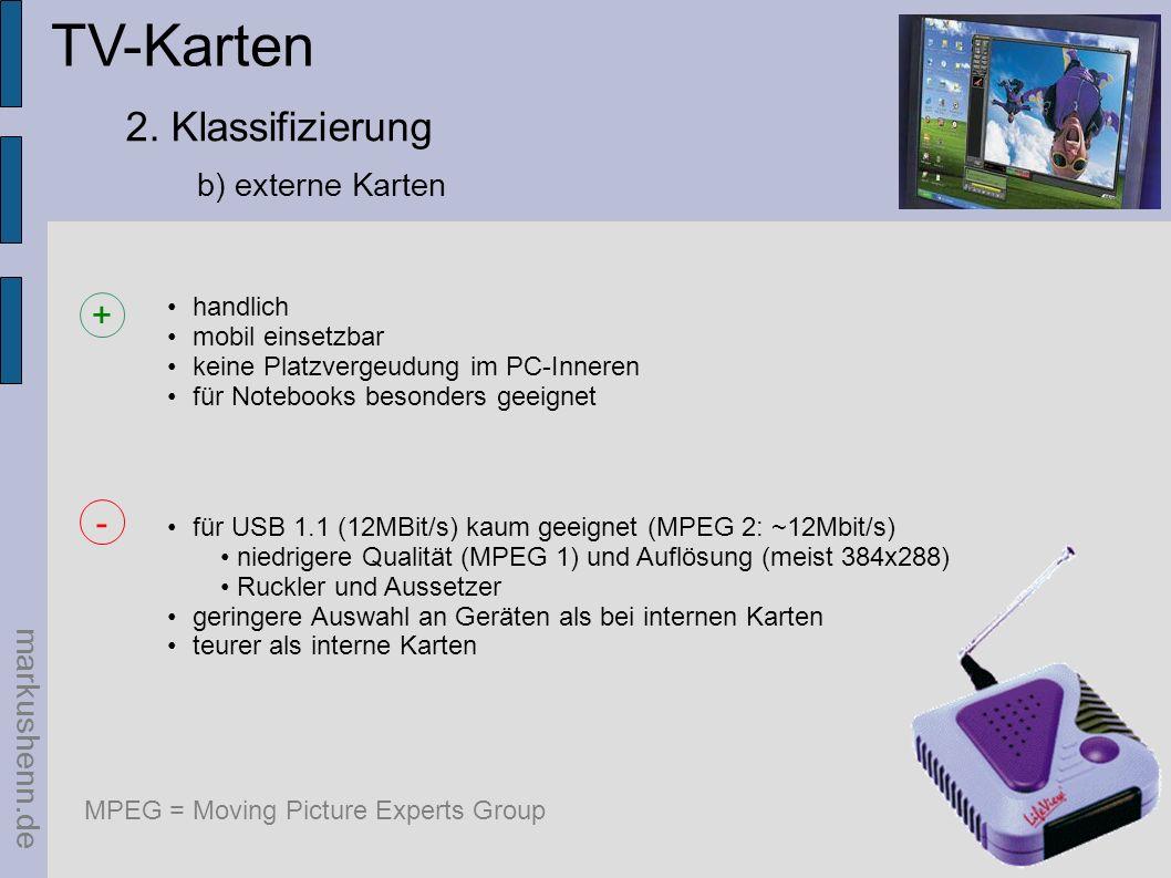 TV-Karten 2. Klassifizierung + - b) externe Karten markushenn.de
