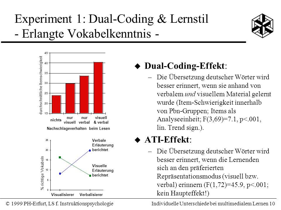 Experiment 1: Dual-Coding & Lernstil - Erlangte Vokabelkenntnis -