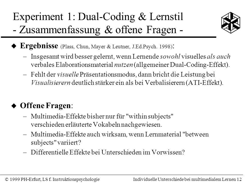 Experiment 1: Dual-Coding & Lernstil - Zusammenfassung & offene Fragen -