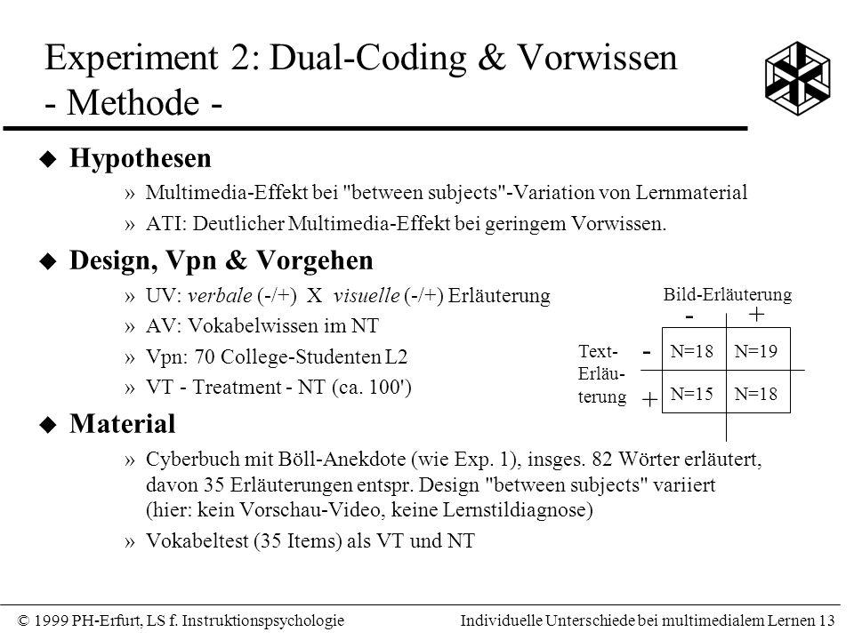 Experiment 2: Dual-Coding & Vorwissen - Methode -