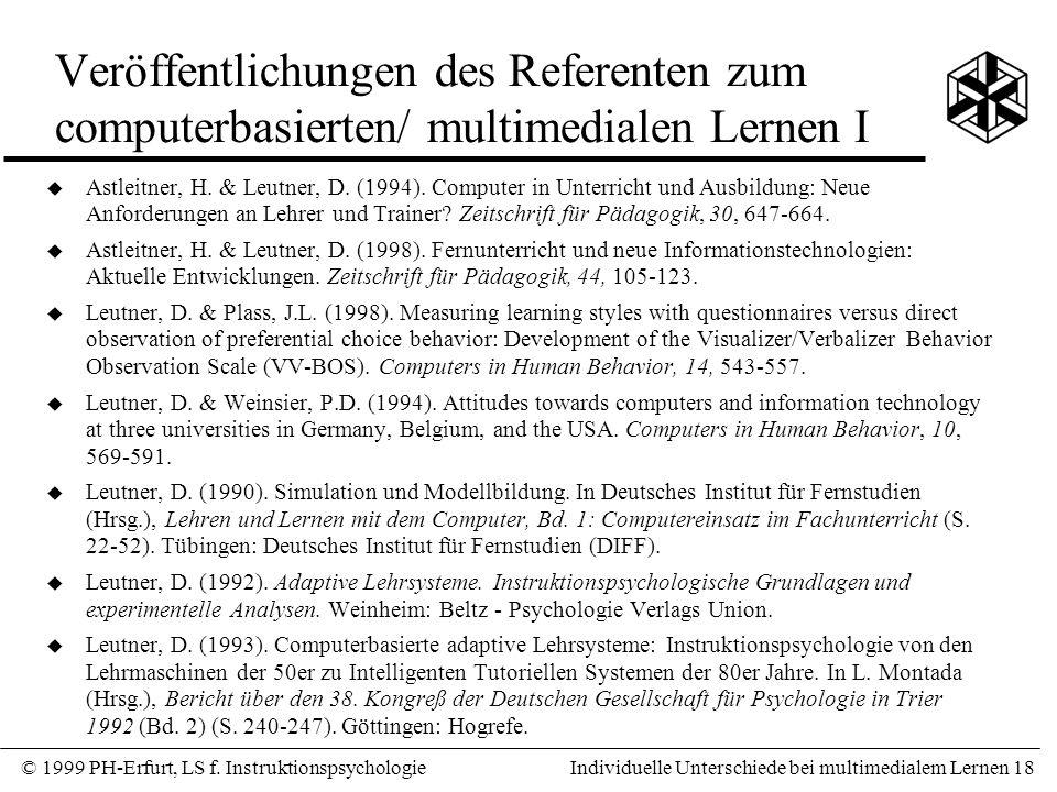 Veröffentlichungen des Referenten zum computerbasierten/ multimedialen Lernen I