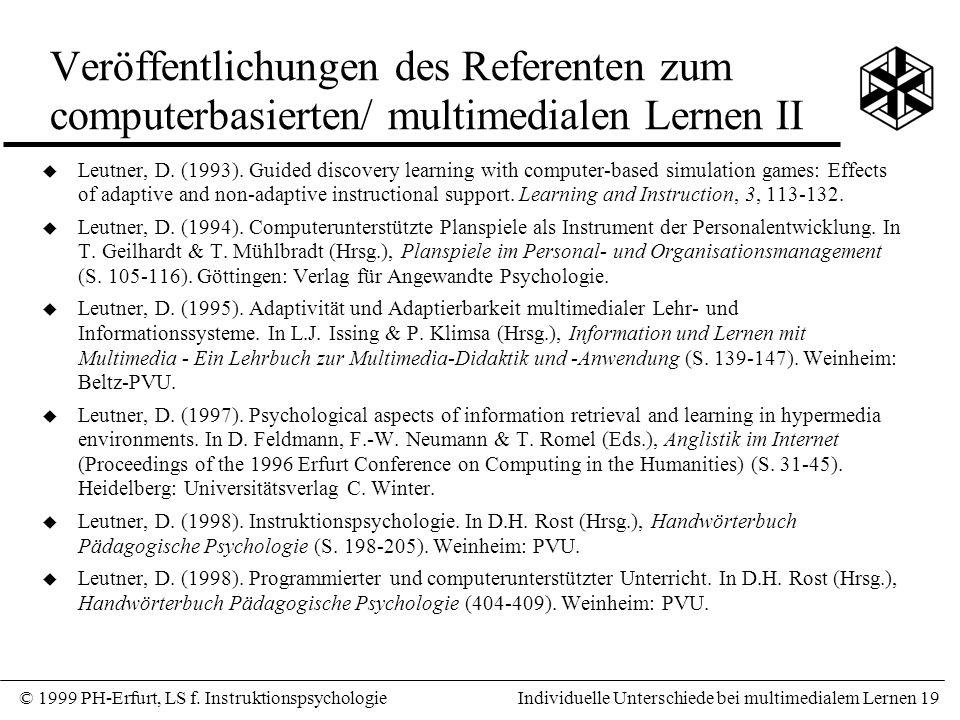 Veröffentlichungen des Referenten zum computerbasierten/ multimedialen Lernen II