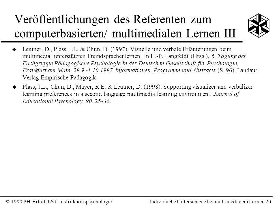 Veröffentlichungen des Referenten zum computerbasierten/ multimedialen Lernen III