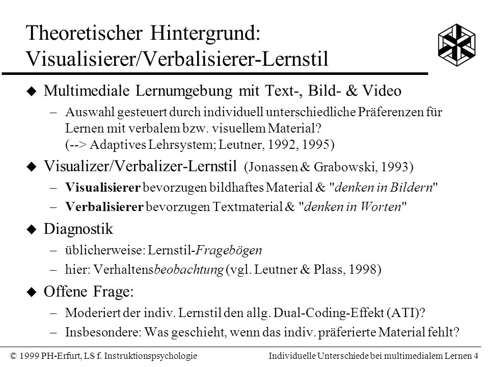 Theoretischer Hintergrund: Visualisierer/Verbalisierer-Lernstil