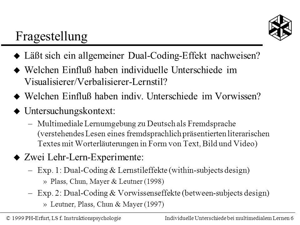 Fragestellung Läßt sich ein allgemeiner Dual-Coding-Effekt nachweisen