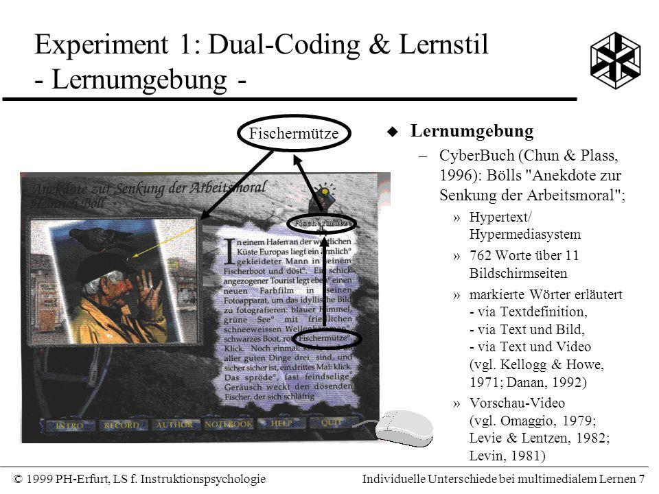 Experiment 1: Dual-Coding & Lernstil - Lernumgebung -