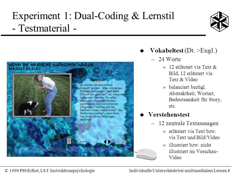 Experiment 1: Dual-Coding & Lernstil - Testmaterial -