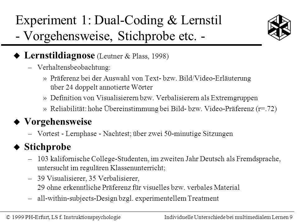 Experiment 1: Dual-Coding & Lernstil - Vorgehensweise, Stichprobe etc