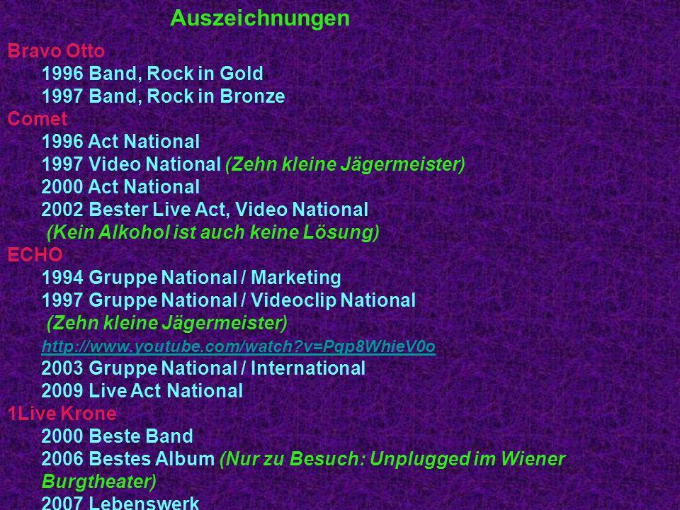 Auszeichnungen 2009 Beste Band Bravo Otto 1996 Band, Rock in Gold