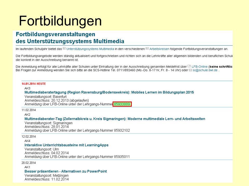 Fortbildungen AK-Leiter RPT-Homepage E-Mails an Schulen LFB-Online
