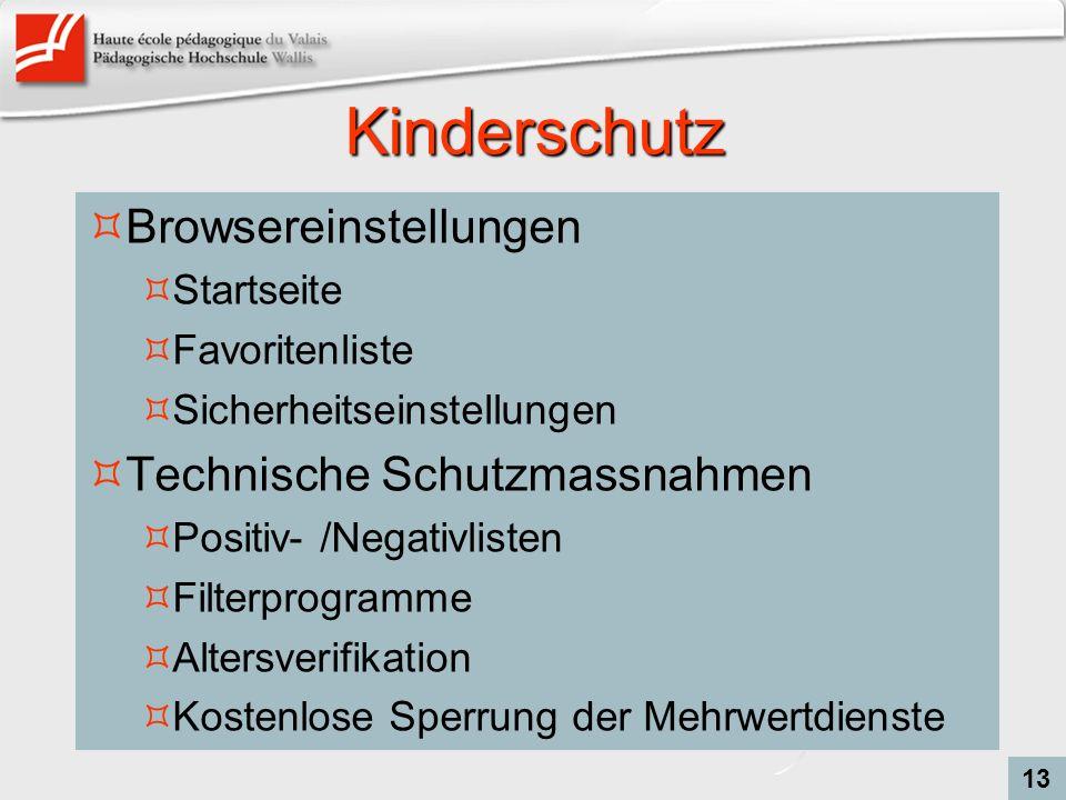 Kinderschutz Browsereinstellungen Technische Schutzmassnahmen