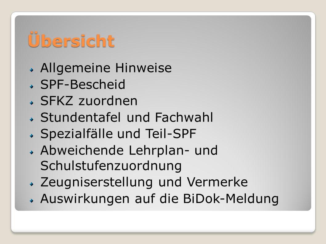 Übersicht Allgemeine Hinweise SPF-Bescheid SFKZ zuordnen