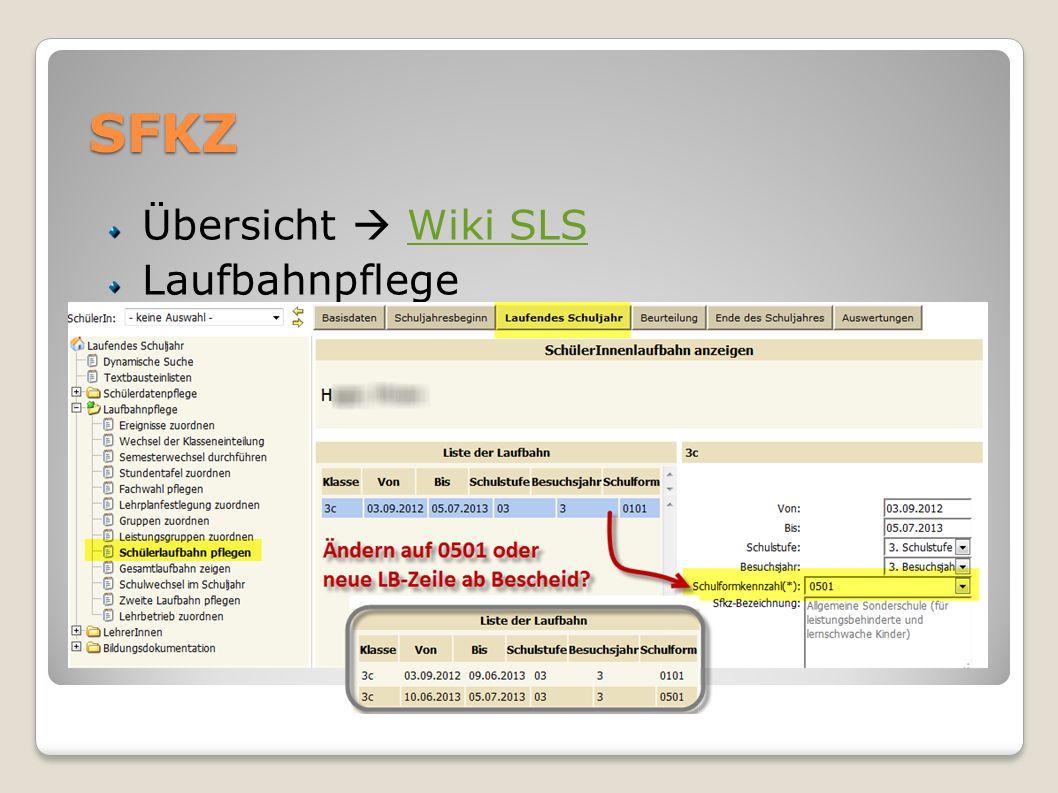 SFKZ Übersicht  Wiki SLS Laufbahnpflege