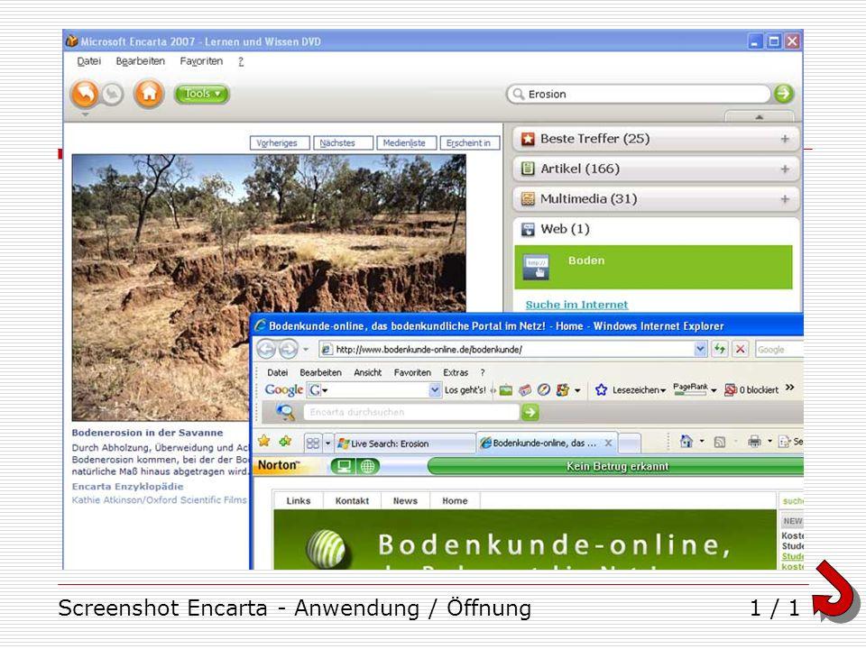 Screenshot Encarta - Anwendung / Öffnung