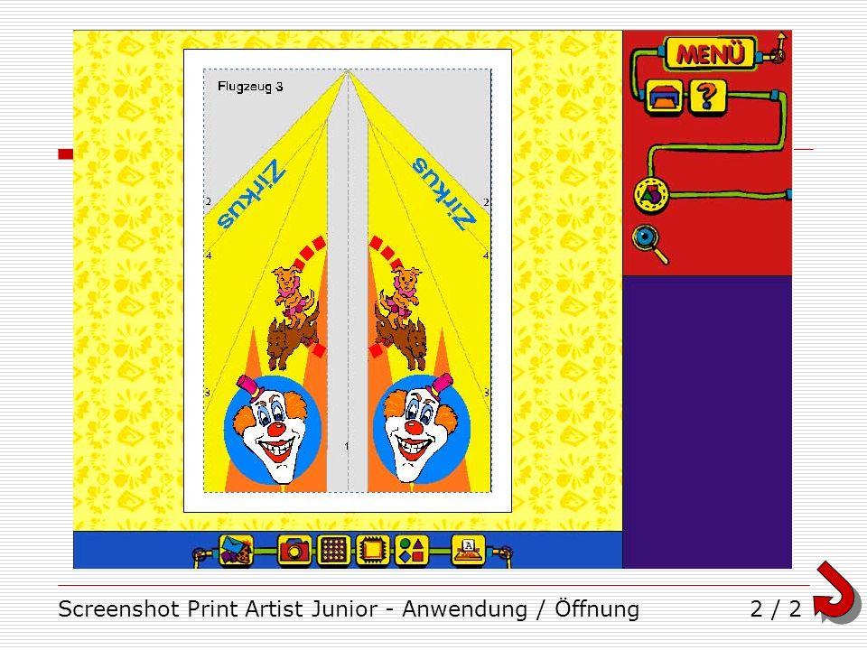 Screenshot Print Artist Junior - Anwendung / Öffnung