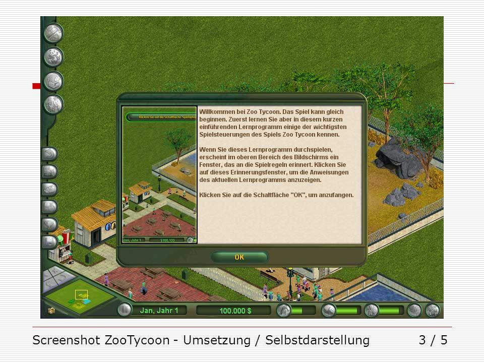 Screenshot ZooTycoon - Umsetzung / Selbstdarstellung