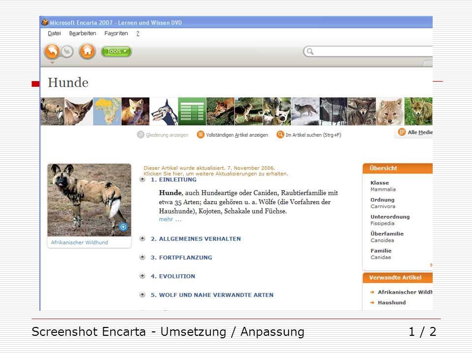 Screenshot Encarta - Umsetzung / Anpassung