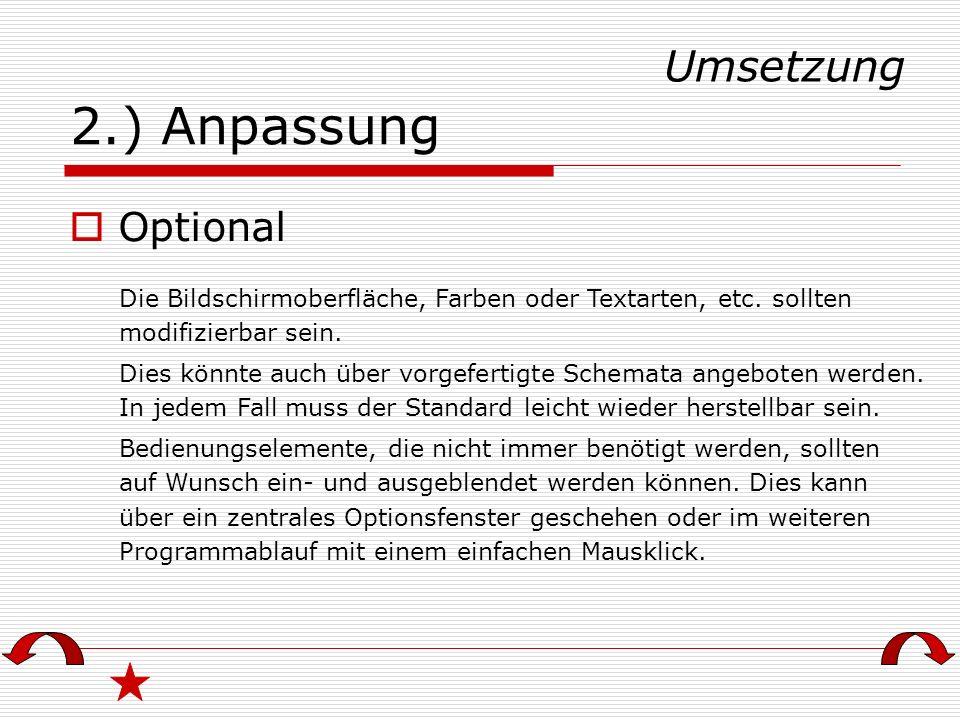 2.) Anpassung Umsetzung Optional