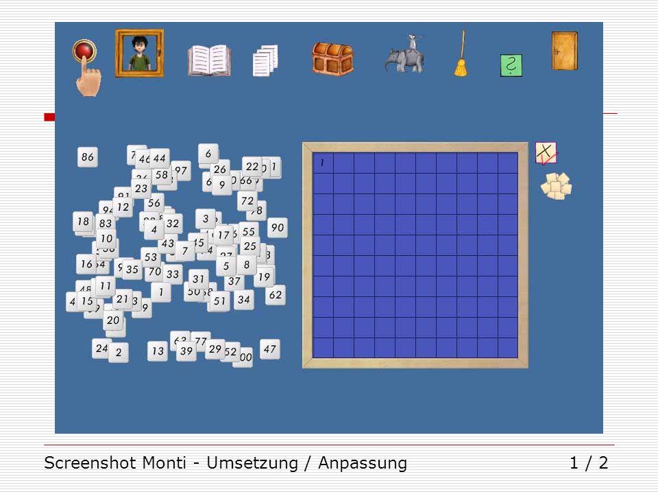 Screenshot Monti - Umsetzung / Anpassung
