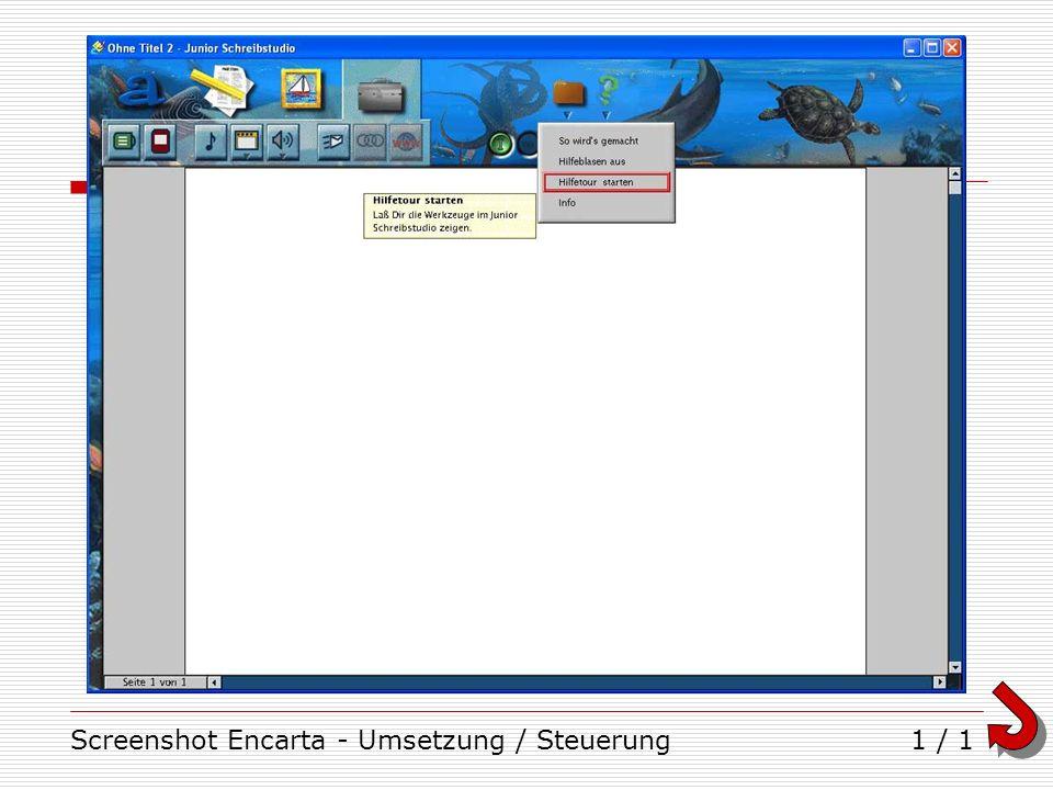 Screenshot Encarta - Umsetzung / Steuerung