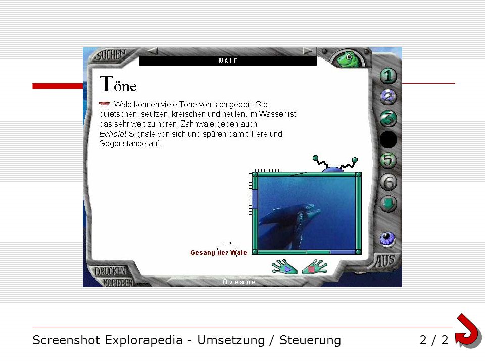 Screenshot Explorapedia - Umsetzung / Steuerung