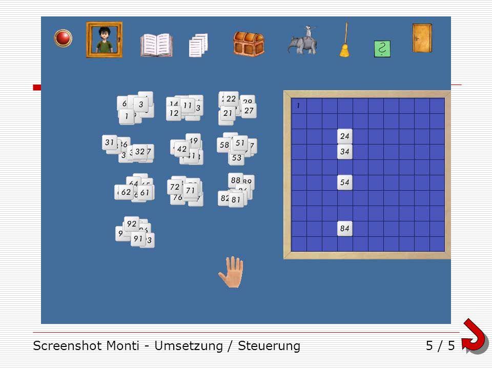 Screenshot Monti - Umsetzung / Steuerung