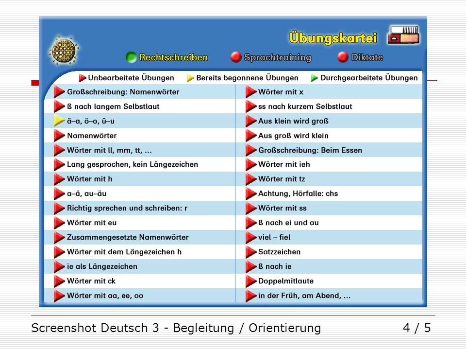 Screenshot Deutsch 3 - Begleitung / Orientierung