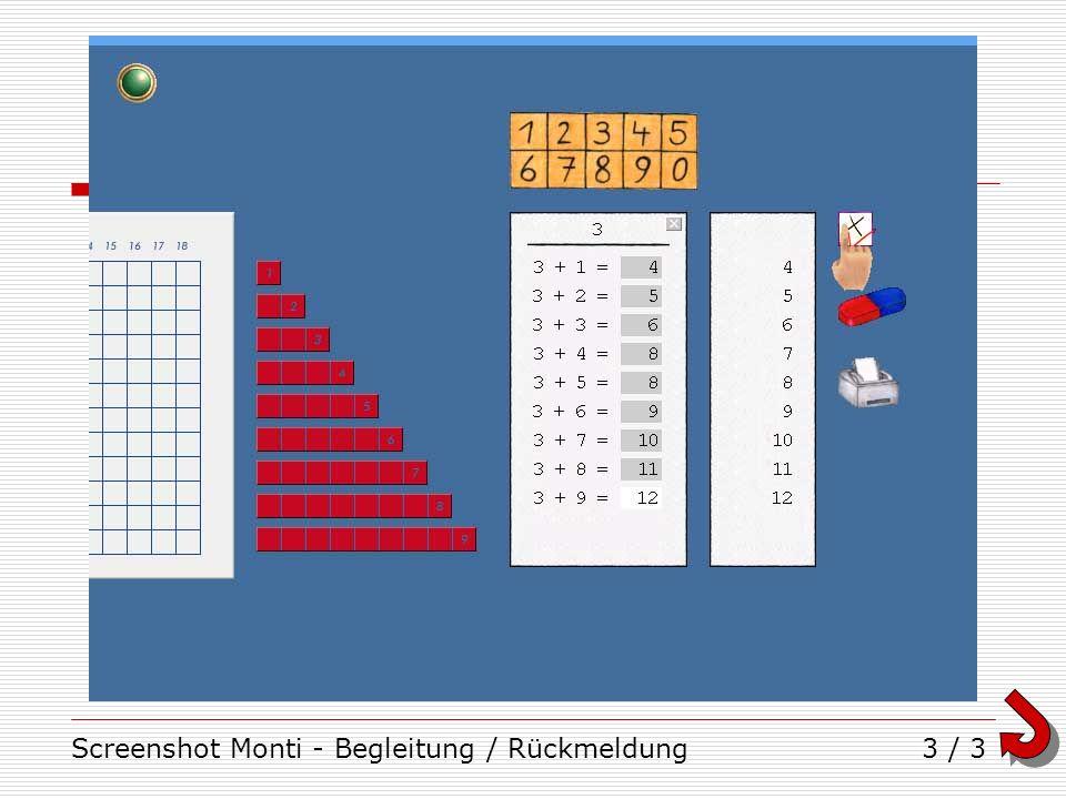 Screenshot Monti - Begleitung / Rückmeldung