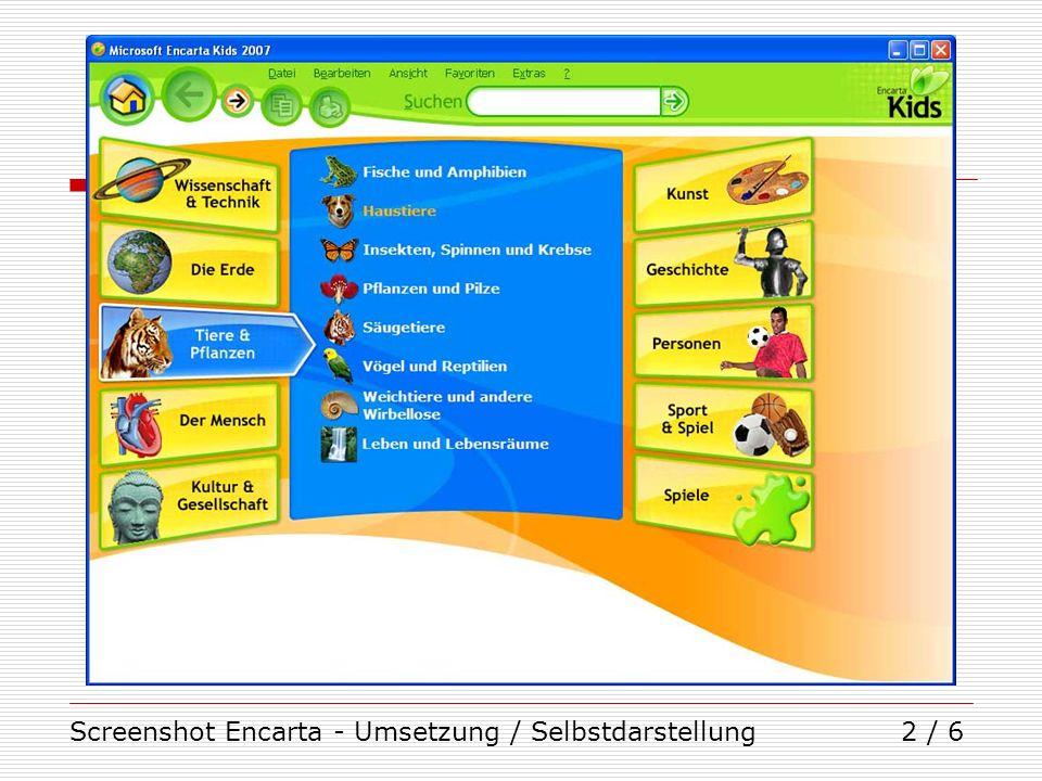 Screenshot Encarta - Umsetzung / Selbstdarstellung