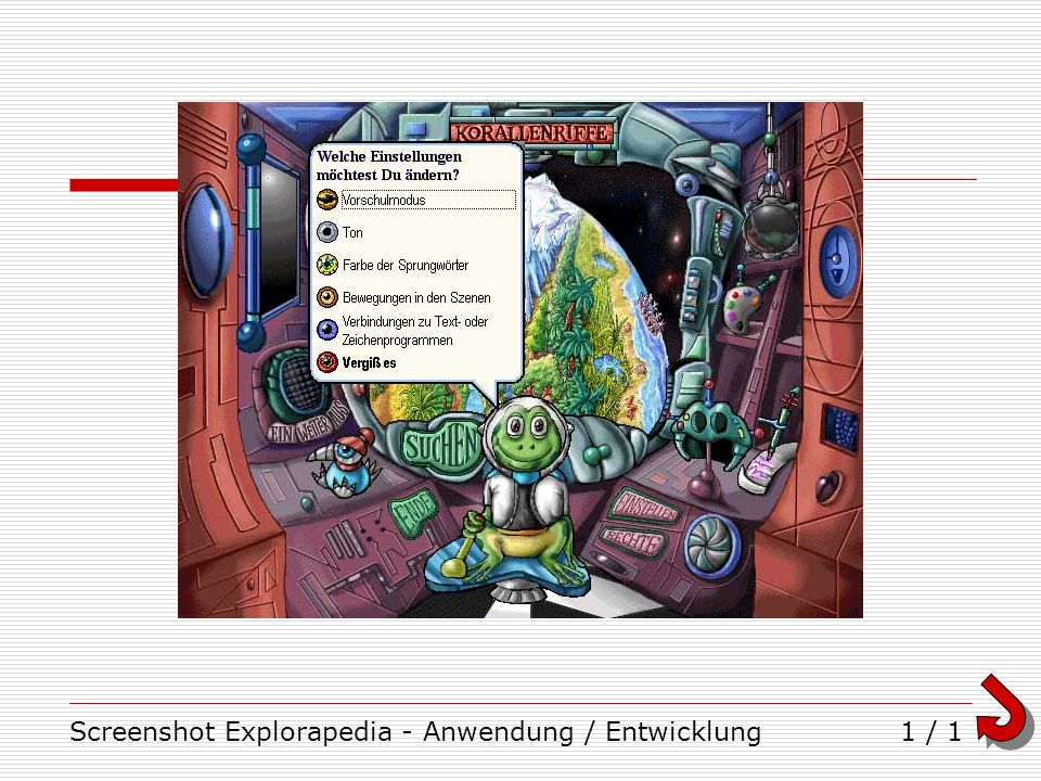 Screenshot Explorapedia - Anwendung / Entwicklung