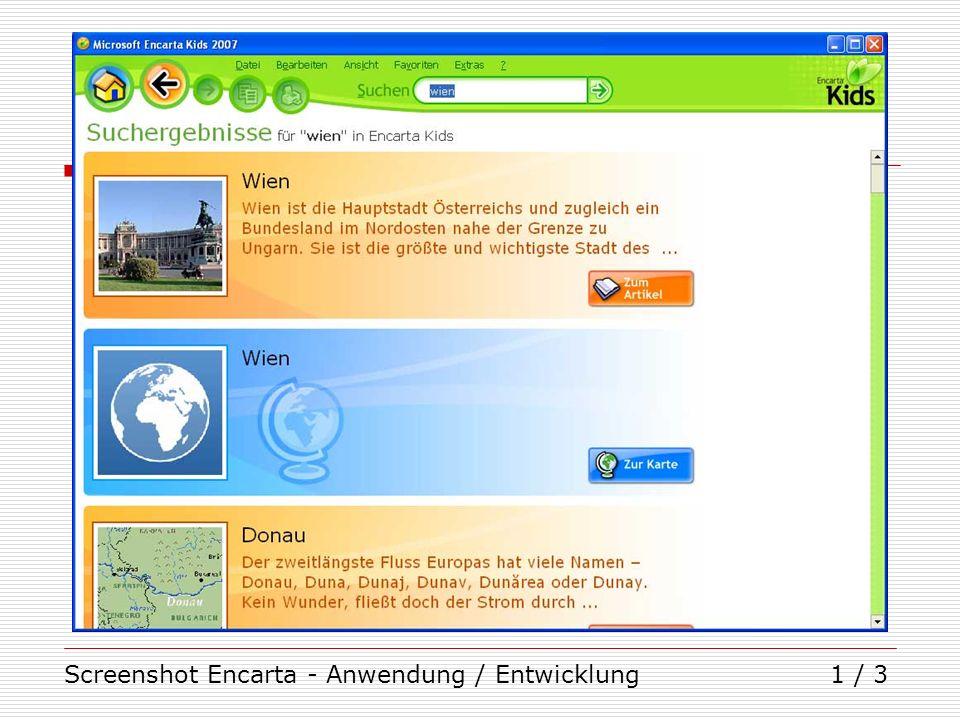 Screenshot Encarta - Anwendung / Entwicklung
