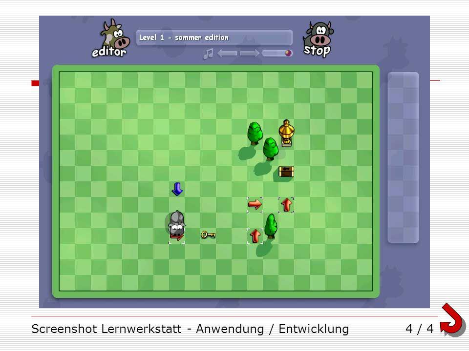 Screenshot Lernwerkstatt - Anwendung / Entwicklung