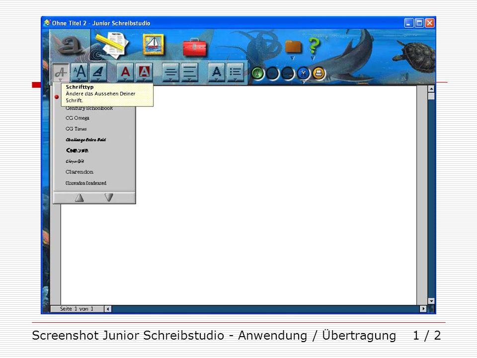 Screenshot Junior Schreibstudio - Anwendung / Übertragung