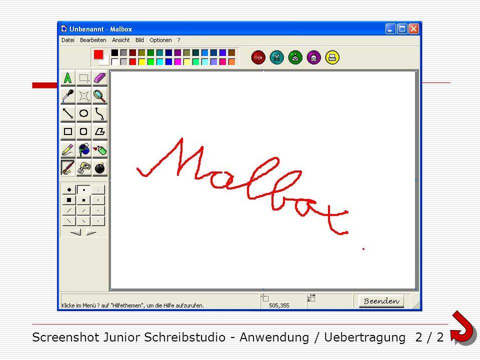 Screenshot Junior Schreibstudio - Anwendung / Uebertragung