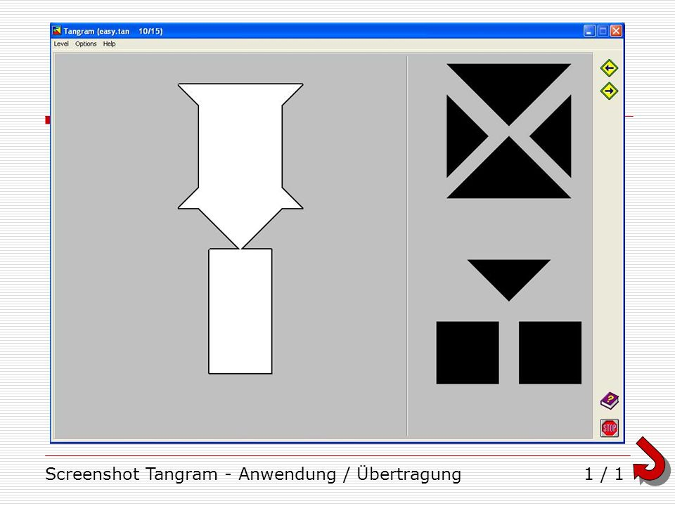 Screenshot Tangram - Anwendung / Übertragung