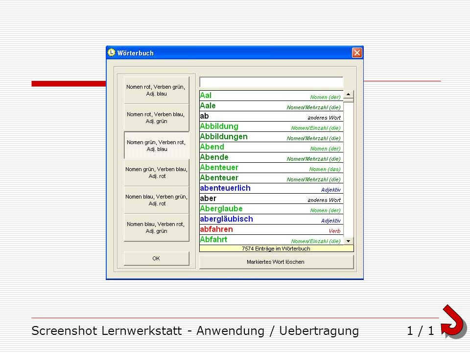 Screenshot Lernwerkstatt - Anwendung / Uebertragung