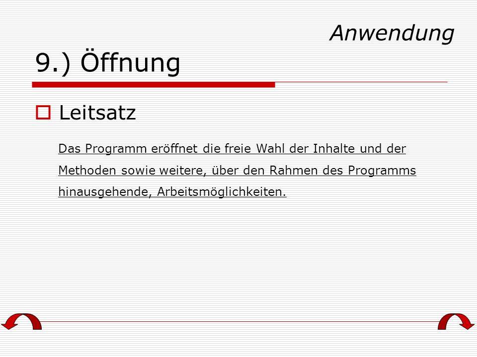 9.) Öffnung Anwendung Leitsatz