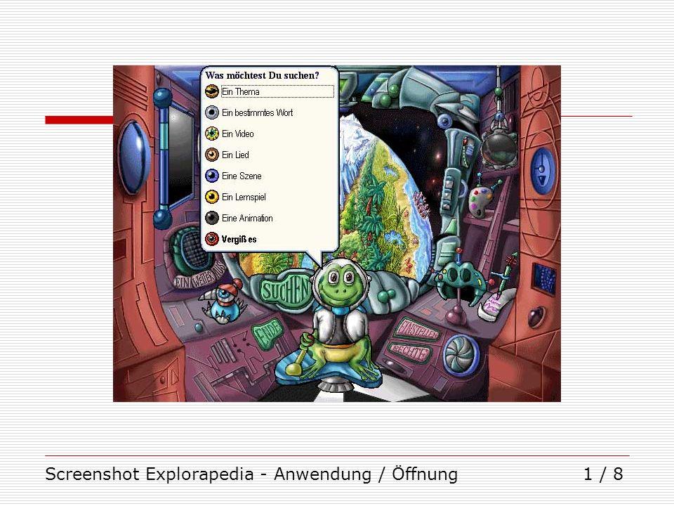 Screenshot Explorapedia - Anwendung / Öffnung