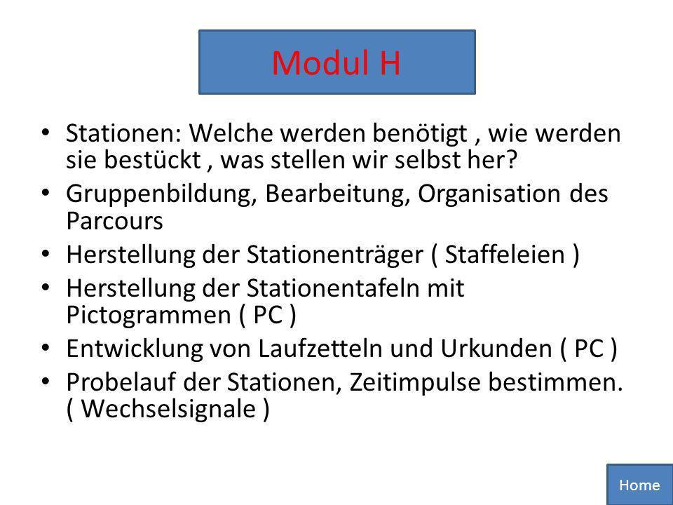 Modul H Stationen: Welche werden benötigt , wie werden sie bestückt , was stellen wir selbst her