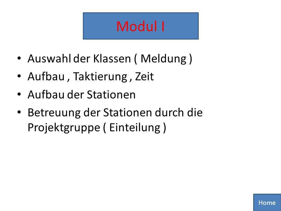 Modul I Auswahl der Klassen ( Meldung ) Aufbau , Taktierung , Zeit