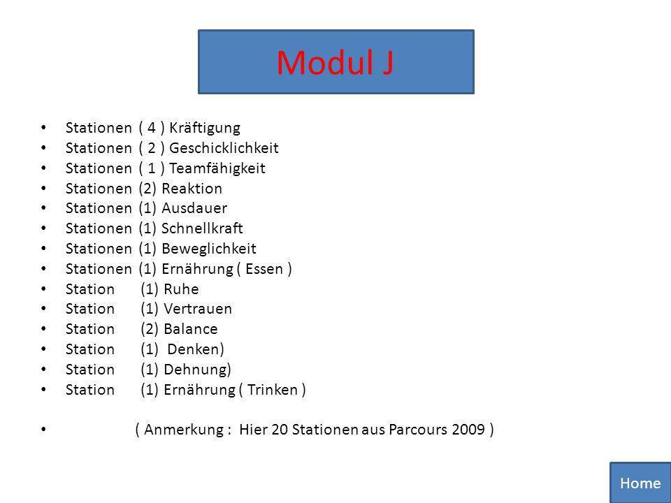 Modul J Stationen ( 4 ) Kräftigung Stationen ( 2 ) Geschicklichkeit