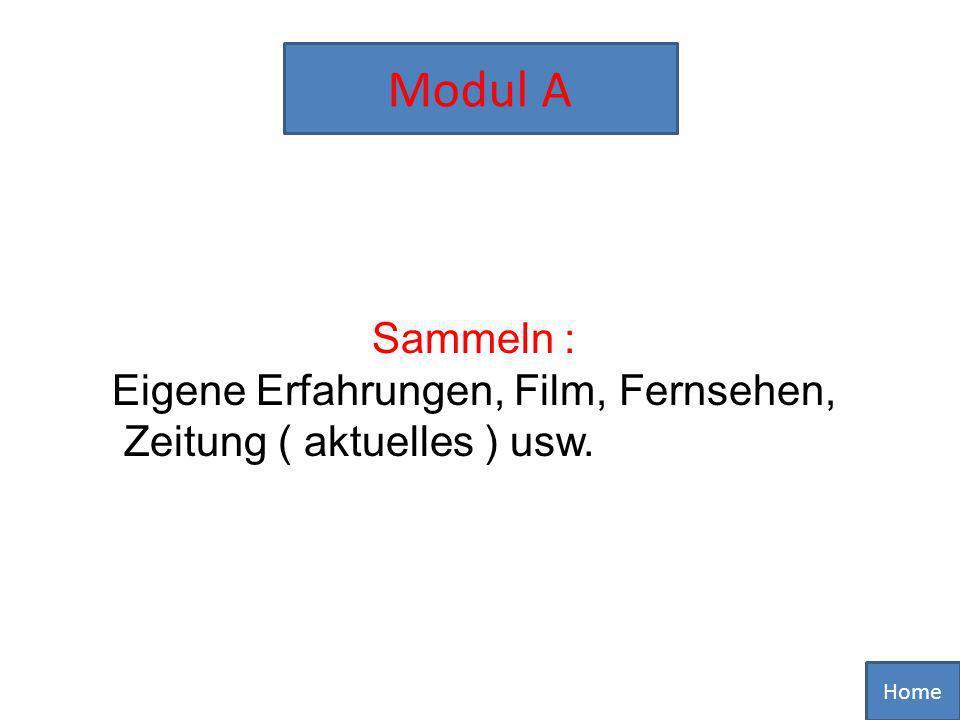Modul A Sammeln : Eigene Erfahrungen, Film, Fernsehen,