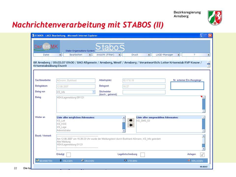 Nachrichtenverarbeitung mit STABOS (II)