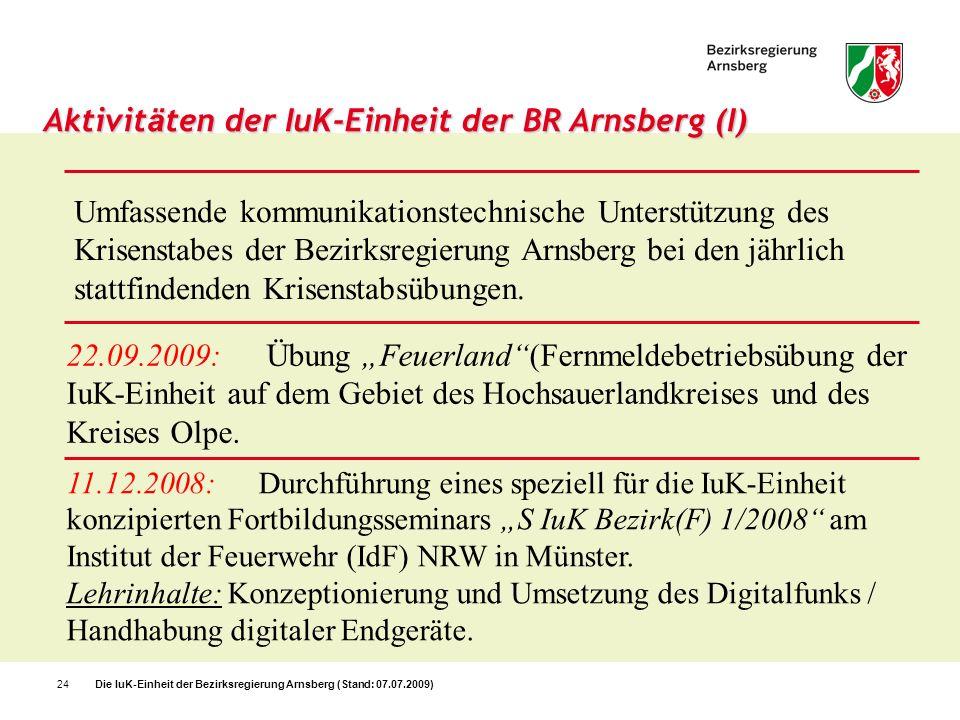 Aktivitäten der IuK-Einheit der BR Arnsberg (I)
