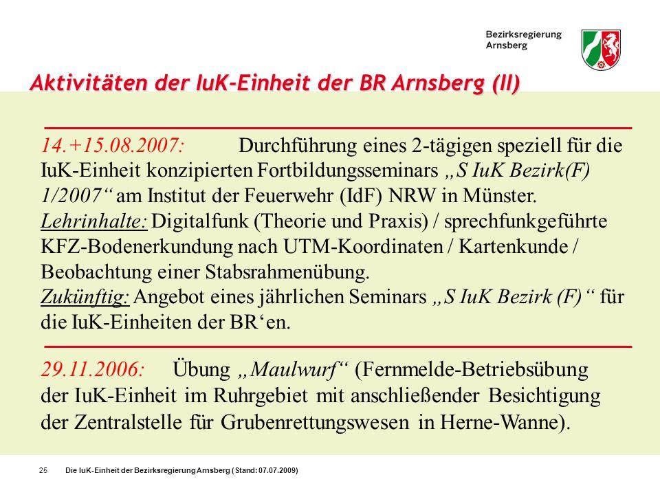 Aktivitäten der IuK-Einheit der BR Arnsberg (II)
