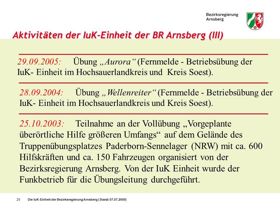 Aktivitäten der IuK-Einheit der BR Arnsberg (III)