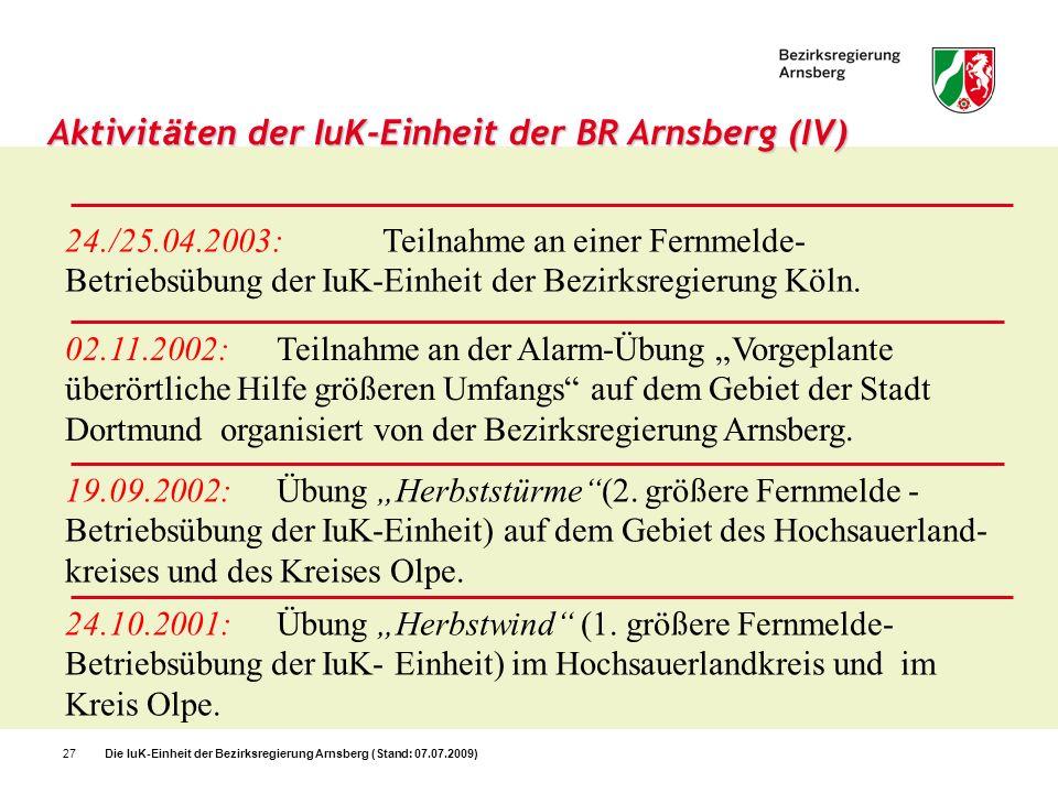 Aktivitäten der IuK-Einheit der BR Arnsberg (IV)