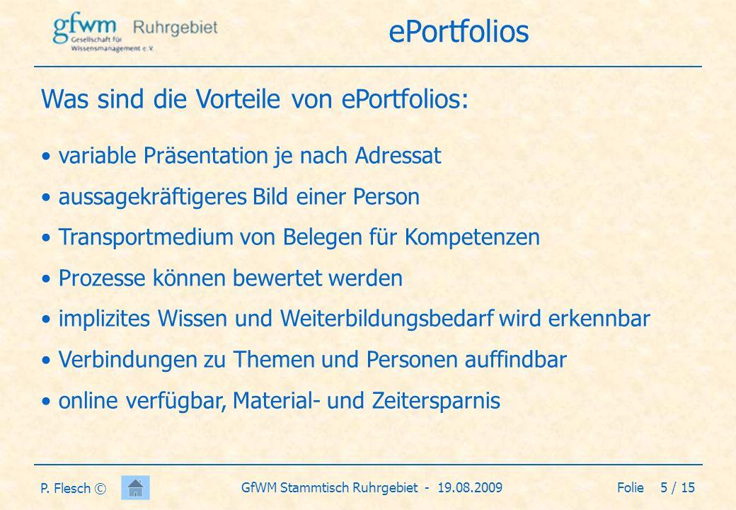 Was sind die Vorteile von ePortfolios: