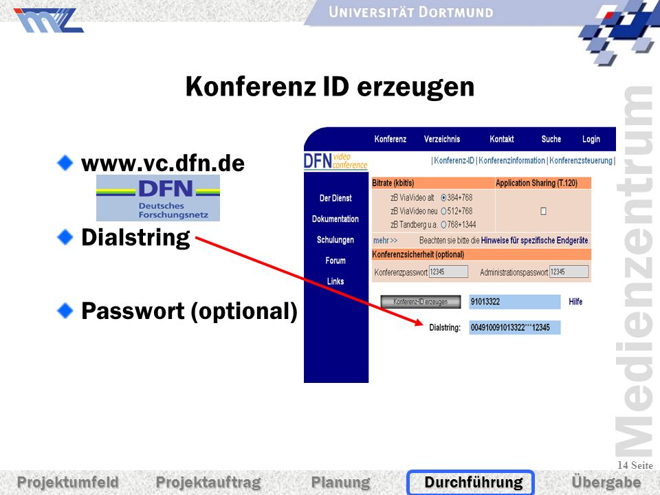 Konferenz ID erzeugen www.vc.dfn.de Dialstring Passwort (optional)
