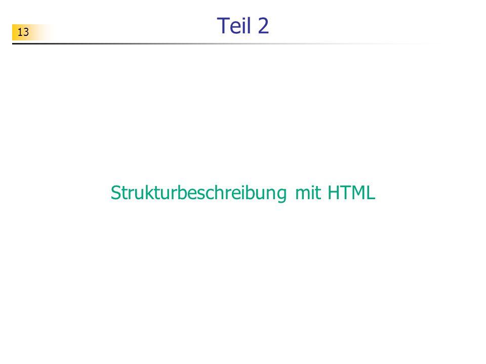 Strukturbeschreibung mit HTML